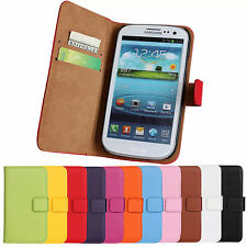 LEATHER Wallet Case Flip Cover Pouch For Samsung Galaxy Model