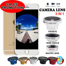 3in1 Fisheye + Wide Angle + Macro Lens Photo Camera Kit Set for iPhone 5S 5C NEW