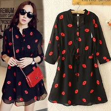 T65 New Ladies Women's trendy embroidery Lips dress Long blouse shirt Size 12-24