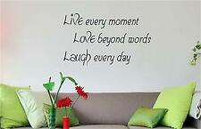 LIVE EVERY MOMENT WALL QUOTE ART HOME DECOR FAMILY LIFE VINYL DECAL KITCHEN