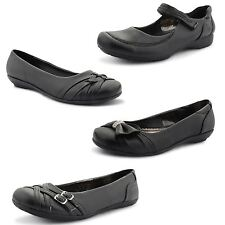 Womens Ladies Flat Casual Ballerina Ballet Pumps Office Dolly Black Shoes Size