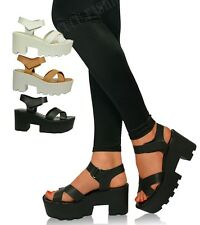 New Ladies Womens Mid Block Heel Sandals Black Cleated Chunky Platforms Size UK