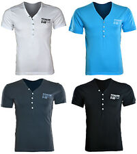Mens Y Neck Fitted T Shirt Short Sleeve Tshirt S M L XL