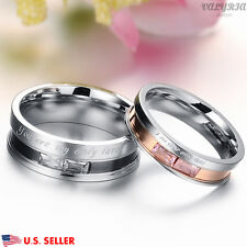 VALYRIA Stainless Steel Silver Lover Couple Band Engagement Wedding Promise Ring