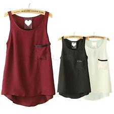 Women Casual Sleeveless T-Shirt Chiffon Blouse Pocket Tank Top Cami Vest Singlet