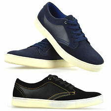 Mens Casual Flat Lace Up Canvas Style Skate Pumps Plimsolls Trainers Shoes Size