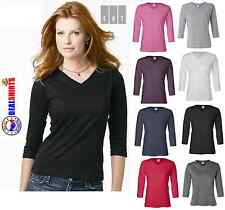 LAT - Ladies' V-Neck T-Shirt with Three-Quarter Sleeves - 3577