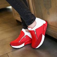Round Toe Women's Fashion Sneakers Zip Wedge Hidden Heel Faux Suede Sport Shoes