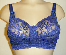 NEW M&S FLEUR BLUE LACE FULL COVERAGE TOTAL SUPPORT BRA SOFT COTTON NIGHTSHADE
