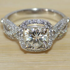 BEAUTIFUL Center 2 Carat ct Cushion Cut Wedding Ring Set White Gold Bridal