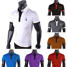 Mens Polo Shirt Tops Short Sleeve Slim Fit Designed Stylish Casual T-shirts Tee