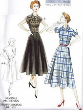 Vogue Retro 1950s Sewing Pattern 9000 Fit & Flared Shirt Dress 16-24 woman Plus