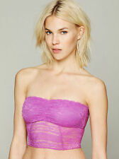 NWT $38 Free People 'The Galloon Lace' Cropped Bandeau Bra Top Orchid Sz XS M L