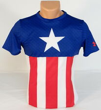 Under Armour Captain America Fitted Short Sleeve Athletic Shirt Youth Boys NWT