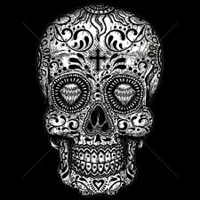 Black & White Painted Trippy Sugar Skull Diamonds Day Of The Dead T-Shirt Tee