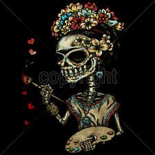 Frida Skull Painting Hearts Famous Painter Day Of The Dead T-Shirt Tee