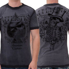 Affliction AC Ace High Skeleton Top Hat Playing Cards Mens T-Shirt Charcoal Grey