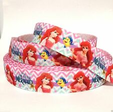"GROSGRAIN PRINTED RIBBON 7/8"" Little Mermaid Zig Zag 1, 3, 5, 10, 20 YDS BULK"