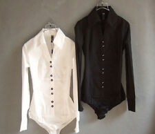 Womens Puff OL Bodysuit Long Sleeve Fashion New Slim Shirt Blouse Top Jumpsuit