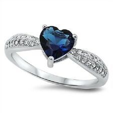 Blue Heart Sapphire CZ Ring, 925 Sterling Silver, Love, Promise, Valentines, Mom