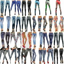 New Fashion Sexy Womens Leggings/Jeggings Womens Tattoo Jeans Look Fit Size 6-12