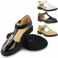 LADIES WOMENS GIRLS SCHOOL SHOES CUT OUT CHUNKY DOLLY GEEK  WORK PUMPS SIZE