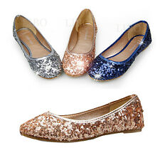 Women Spring fashion Ballet Shoes Flats Sparkly Sequin Glitter Slipon Round Toe