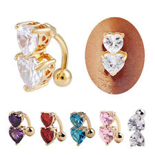 Surgical Steel Body Pierced Ring Heart Navel Belly Button Bar Rhinestone Ring