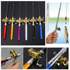 Mini Portable Aluminum Pocket Camping Travel Pen Fishing Rod Pole Reel Combos