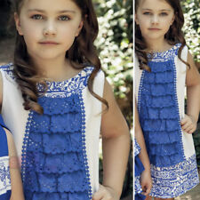 Girls Spanish Dress White and Royal Blue Party, Special Occasion Age 2y to 12y