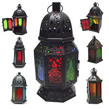 Lantern Moroccan Style Candle Holder Tealight Metal Black Coloured Glass BIG