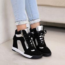 Fashion Womens Wedge Inside Zip Sneakers Lace up High Top Boot Sport Casual Shoe