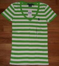 NWT Polo Ralph Lauren Womens PONY LOGO V-Neck T-Shirt PERFECT TEE GrnStripe *V3