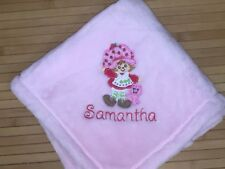 Embroidered Personalized Vintage Strawberry Shortcake Baby Blanket