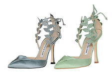$1025  New Manolo Blahnik Boltase Grey Satin Leaf Strappy Shoes 39