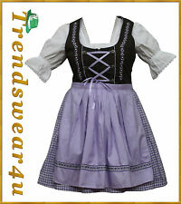 German Bavarian Oktoberfest Trachten 3 Pc Purple Dirndl Dress,Available All Size