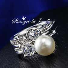 R2086 9K 9CT White GOLD GP PEARL Womens PARTY Cocktail RING SWAROVSKI DIAMOND