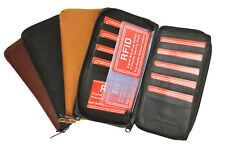 RFID Blocking Leather 17 Card Checkbook Cover Zip Around Travel Organizer Wallet