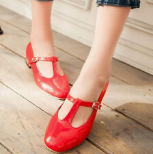 New Women's Patent Leather T-Strap Mary Jane Shoes Flats Casual Shoes Round Toe