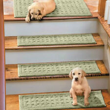 "SET OF 4 29"" BASKETWEAVE WASHABLE INDOOR STAIR TREADS Carpet CHOICE 10 COLORS"