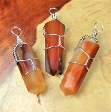 Agate Necklace - Red Carnelian Wire Wrapped Crystal Point (A46) Natural Healing