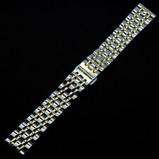 20mm Silver/Silver&Gold Solid Stainless Steel Watch Band Deployment buckle Men