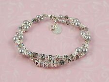 PERSONALISED .925 Silver Mothers BRACELET 2 Two Name MUM Birthday GIFT Boxed