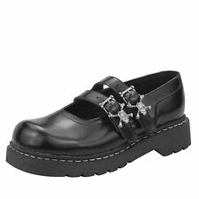 T.U.K. T2220 TUK LADIES Black Leather Shoes anarchy Double Skull Strap Mary Jane