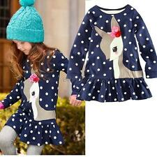 Baby Girls One-piece polka Dots Deer Pleated Cotton Skirts Long Sleeve Dress E30