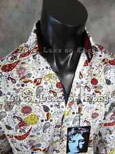 New With Tags JOHN LENNON Button Dress Shirt White with Burgundy Paisley's