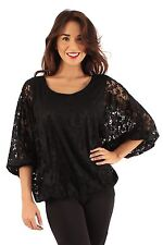 Ladies Lace top Batwing Sleeves Loose Party Evening Casual Size 10 12 14