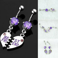 New Hot BEST FRIEND HEART Crystal Jewelry Belly Bar Navel Dangle Piercing Ring