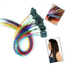 12pcs Clip in Multicolour Leopard Dot Synthetic Grizzly Feather Hair Extensions