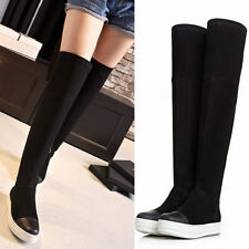 Women's Flat Platform Sneakers Over the Knee Thigh High Boots Punk Goth Shoes